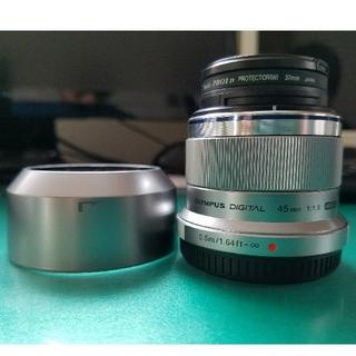 オリンパス(OLYMPUS)のM.ZUIKO DEGITAL 45mm F1.8 交換レンズ+フード+フィルタ(レンズ(単焦点))