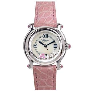 ショパール(Chopard)のダイヤ♡ショパール ハッピースポーツ ピンク 腕時計レディース(腕時計)