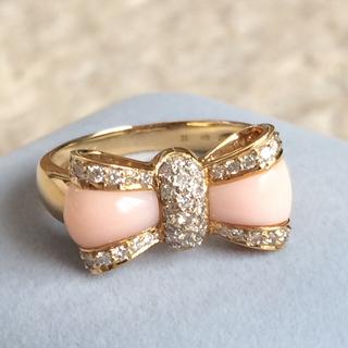 ゴールデンウィーク特別お値下げ  ダイヤ サンゴ K18 リング リボン(リング(指輪))