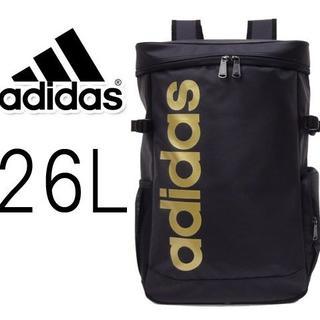 アディダス(adidas)の完売品[1点限定]■アディダス スクエア型リュックサックB4 ブラック×ゴールド(リュック/バックパック)