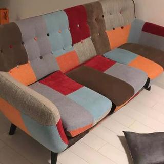 フランフラン(Francfranc)のフランフランソファー パッチワーク風 人気のソファー(三人掛けソファ)