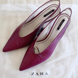ザラ(ZARA)のZARA HEAL MULE 40 PURPLE(ミュール)