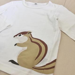 ムジルシリョウヒン(MUJI (無印良品))の美品!無印良品 100cm リス柄ロンT長袖カットソー (Tシャツ/カットソー)