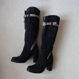 イタリア製、スエードデザイン長ブーツ、かっこいい!(ブーツ)
