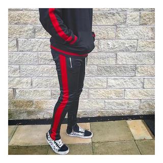 フィアオブゴッド(FEAR OF GOD)の正規品 mnml Track Pants black red トラックパンツ (ジャージ)