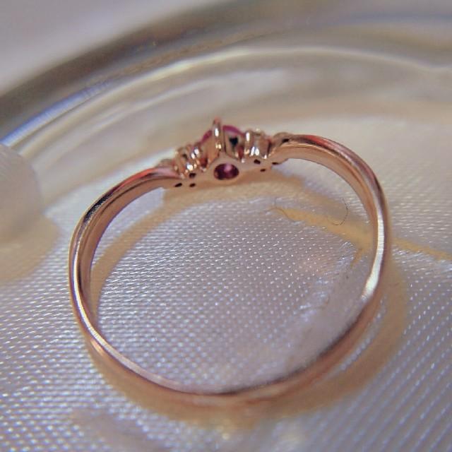 専用です◎K10ピンクストーンV字リング レディースのアクセサリー(リング(指輪))の商品写真