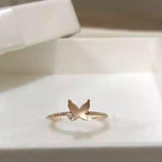 サマンサティアラ(Samantha Tiara)の未使用品 サマンサティアラ k18  PG ダイヤモンド バタフライリング(リング(指輪))