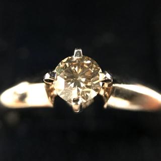 正規品研磨済KASHIKEY カシケイ K18ブラウンダイヤ0.3リング10号(リング(指輪))