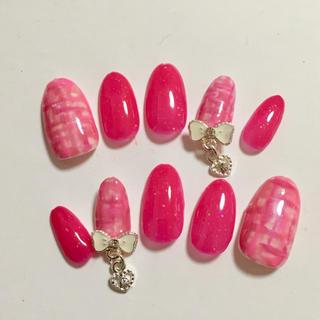 ジェルネイル ゆらゆらパーツ リボン 春ネイル ピンク
