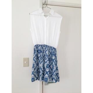 シマムラ(しまむら)のシャツ 切り替え ホワイト ブルー 白 ワンピース (ミニワンピース)