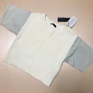 ディーゼル(DIESEL)の[新品][未使用]  DIESEL ニット 半袖 白 ホワイト  (ニット/セーター)