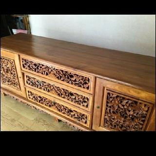 ムジルシリョウヒン(MUJI (無印良品))の♡べるもに様♡ご専用♡木彫りのローテーブル/ テレビ台/ サイドボード(ローテーブル)