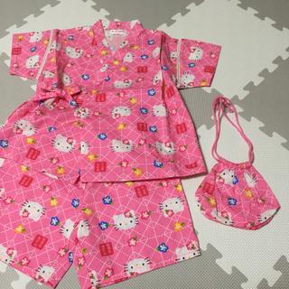 ハローキティ(ハローキティ)のキティちゃん 子供用甚平 巾着付き ピンク(甚平/浴衣)