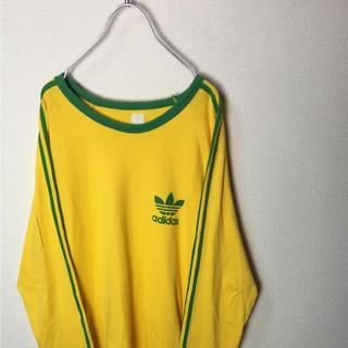 アディダス(adidas)のVintage 復刻 adidas ゲームシャツ ロンTシャツ ロゴ 黄色緑 M(Tシャツ/カットソー(七分/長袖))