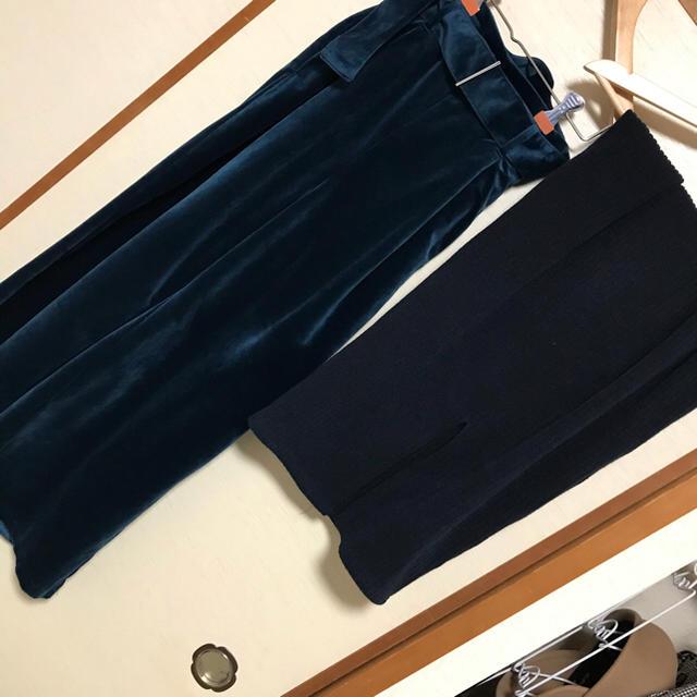 GU(ジーユー)のGU リブナローミディスカート ベロアワイドパンツセット Sサイズ レディースのパンツ(その他)の商品写真