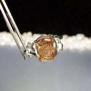 石街高級銅色ゴールドルチルクオーツ天然石指輪リング14号U0028 石街(リング(指輪))
