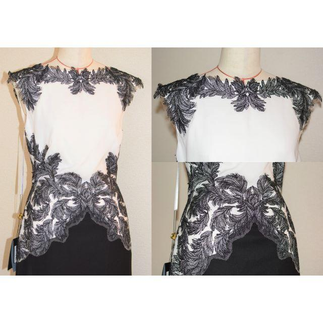 TADASHI SHOJI(タダシショウジ)の【新品タグ付、展示品】Tadashi shoji ホワイト×ブラック 2 レディースのフォーマル/ドレス(ロングドレス)の商品写真
