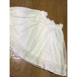リズリサ(LIZ LISA)のホワイト シフォン リボン スカート(ひざ丈スカート)