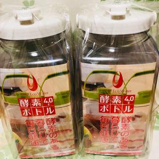 タケヤ(竹屋)の果実酒瓶 タケヤ 角型 4リットル2個セット ガス抜き弁付 エコウォーター(調理道具/製菓道具)