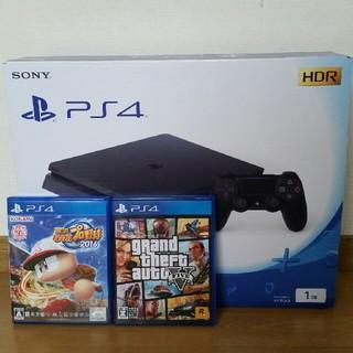 プレイステーション4(PlayStation4)のPS4 本体 ジェットブラック 1TB 新品 グラセフ5 パワプロ2016(家庭用ゲーム機本体)