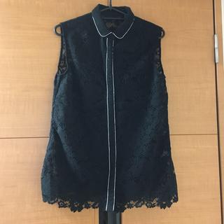 ルシェルブルー(LE CIEL BLEU)のLECIELBLEUノースリ黒レースシャツ(シャツ/ブラウス(半袖/袖なし))