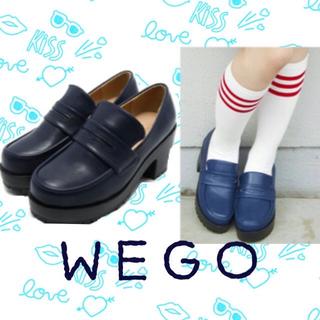 ウィゴー(WEGO)のWEGO♡厚底ローファー新品ネイビー(ローファー/革靴)