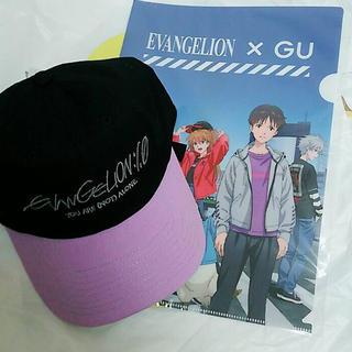 ジーユー(GU)のgu × エヴァンゲリオン☆キャップ☆パープル!クリアファイル付き!!(キャップ)