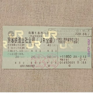 ジェイアール(JR)の青春18きっぷ 3回分 (鉄道乗車券)