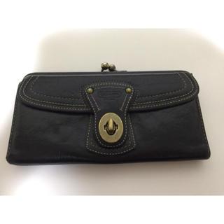 コーチ(COACH)のCOACH コーチ 長財布 がま口 黒 ボーダー(財布)