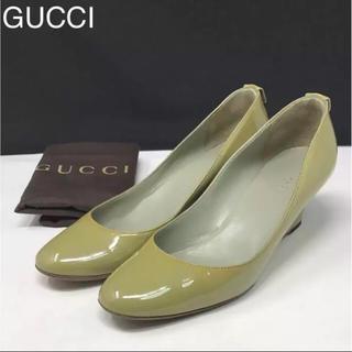 グッチ(Gucci)の正規品 グッチ エナメル パンプス グリーン 保存袋付き(ハイヒール/パンプス)