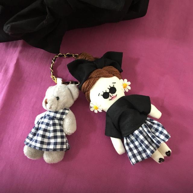 ドールチャーム クリアバッグセット くまちゃんとリンクコーデ ハンドメイドのアクセサリー(チャーム)の商品写真