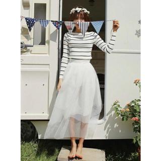 ディーホリック(dholic)の【DHOLIC】  チュール重ねホワイトミディスカート(ミニドレス)