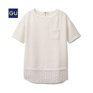 ジーユー(GU)の新品 エンブロイダリーレースチュニック オフホワイト(シャツ/ブラウス(半袖/袖なし))