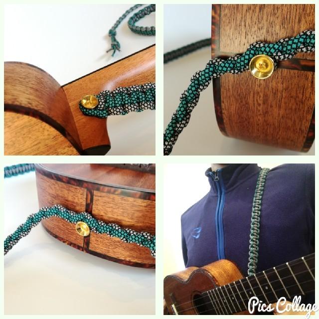 ウクレレ用ストラップ オリジナル 手作り ハンドメイド エメラルドグリーン 楽器のウクレレ(その他)の商品写真