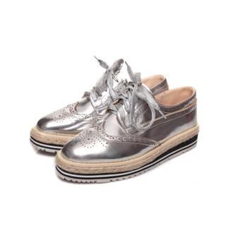 厚底シューズ オックスフォードシューズ シルバー スニーカー シルバー(ローファー/革靴)