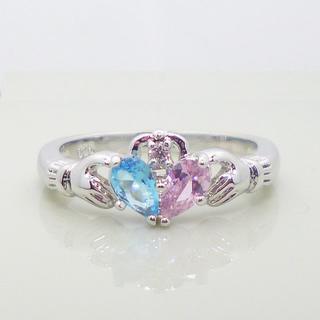クラダリング 水色×ピンク×ホワイト トパーズ ハート型 指輪(リング(指輪))
