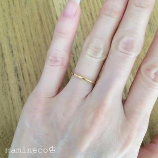 7号サイズ ステンレス製 イエローゴールドリング幅1mm 指輪(リング(指輪))