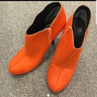 ハラコ ショートブーツ オレンジ(ブーツ)