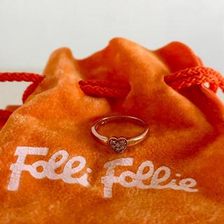 フォリフォリ(Folli Follie)の♡FolliFollieフォリフォリ♡ピンクゴールドピンキーリング♡44*10k(リング(指輪))