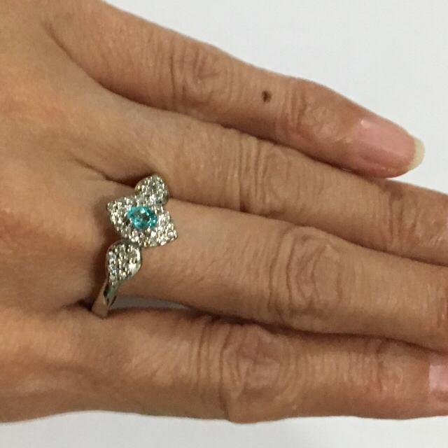 ★たぬきの夫婦さん専用★パライバトルマリンとダイヤのプラチナリング★ レディースのアクセサリー(リング(指輪))の商品写真