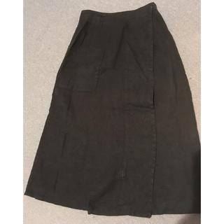 フォグリネンワーク(fog linen work)のfog、リネンの巻きスカート(ひざ丈スカート)