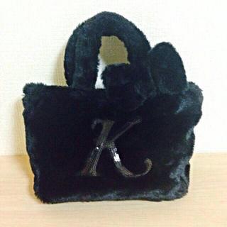 サンカンシオン(3can4on)のイニシャルトートバッグ「K」 ブラック(トートバッグ)