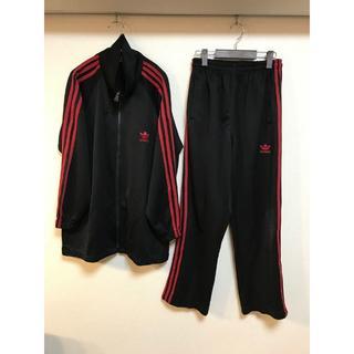 アディダス(adidas)のadidas セットアップ ジャージ 上下 トレフォイル 黒 赤 L(セットアップ)
