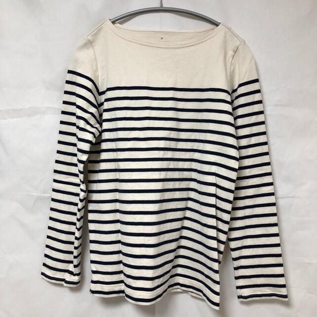 MUJI (無印良品)(ムジルシリョウヒン)の無印良品 オーガニックコットン太番手パネルボーダー長袖Tシャツ レディースのトップス(Tシャツ(長袖/七分))の商品写真
