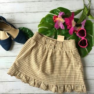 リズリサ(LIZ LISA)の新品!タグ付き!リズリサ✩千鳥柄✩フリル×リボン✩薄手ニットスカート(ミニスカート)