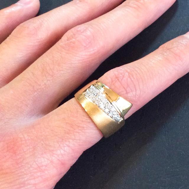 k18 18金 天然ダイヤモンド 鏡面&マット仕上げリング レディースのアクセサリー(リング(指輪))の商品写真