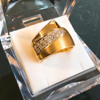 k18 18金 天然ダイヤモンド 鏡面&マット仕上げリング(リング(指輪))