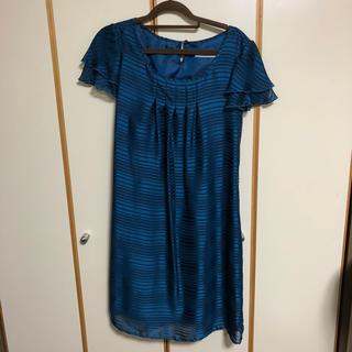 シマムラ(しまむら)の結婚式、食事会、パーティーに!11号☆膝丈☆美品☆青緑ドレス(ミディアムドレス)