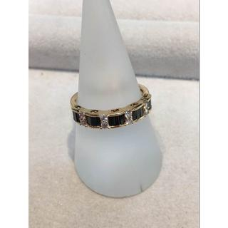K18 ダイヤ 0.65ct ブラックダイヤ リング 16号 指輪(リング(指輪))