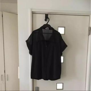ジーユー(GU)のGU シフォンブラウス 黒(シャツ/ブラウス(半袖/袖なし))